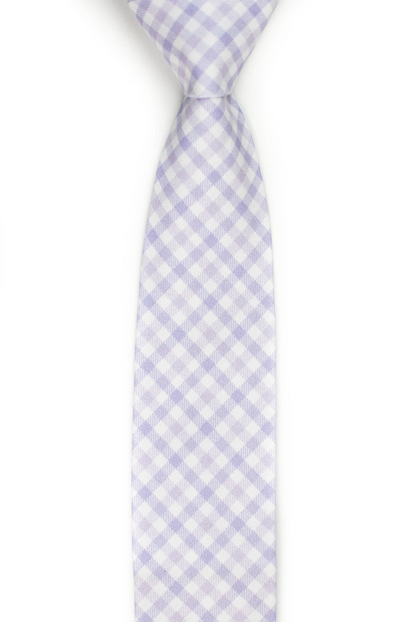 light purple gingham tie front view