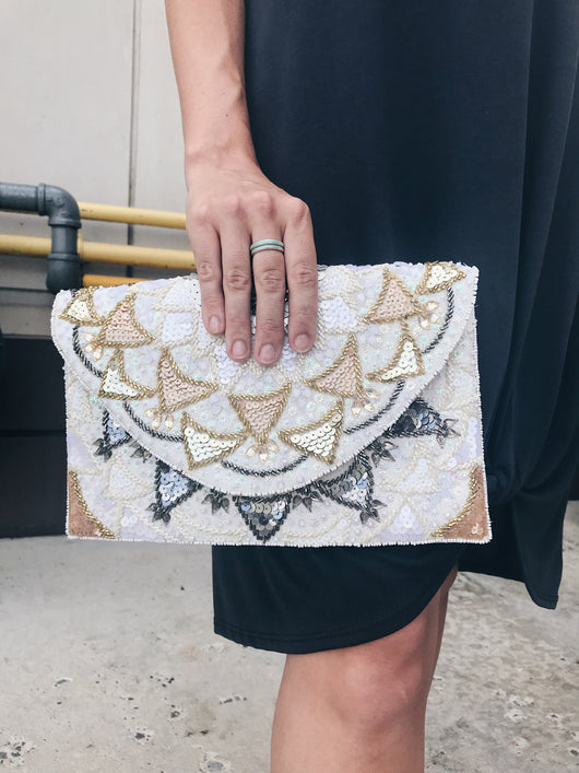 Scalloped Sequin Beaded Clutch