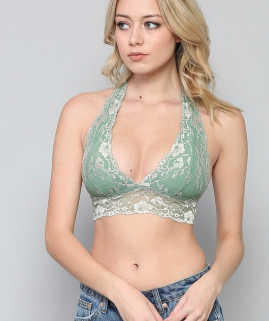 Lydia Plunge Padded Lace Bralette