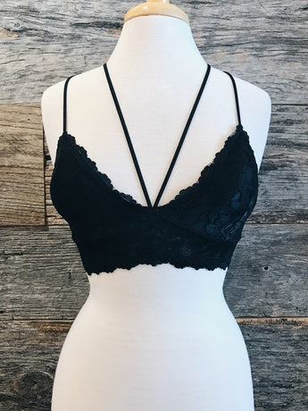 Strappy Lace Bralette - Black