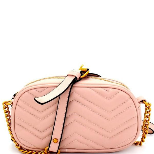 Chevron Shoulder Bag - Pink
