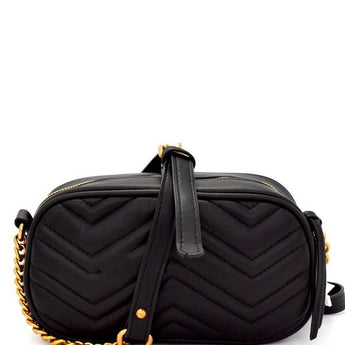 Chevron Shoulder Bag - Black