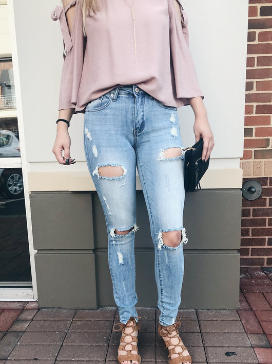 Light Wash Distressed Straight Leg Denim