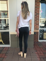 Distressed Black High Rise Ankle Skinnies
