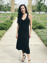 Runaway Ribbed Button Down Midi Dress