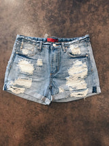 Shredded Distressed Cuffed Denim Shorts