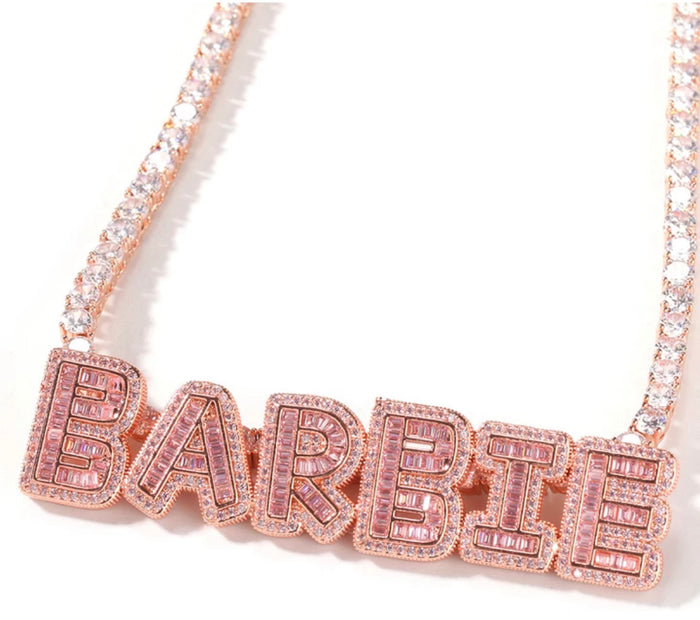 Custom Baguette Name Tennis necklace