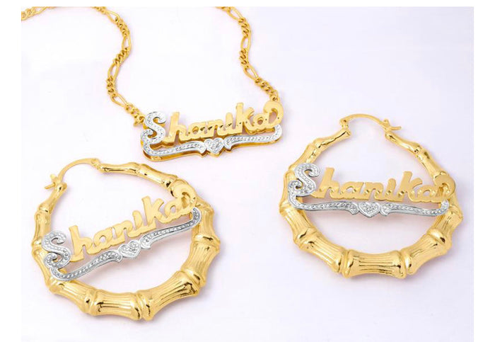 Custom Name Necklace & Earring Set