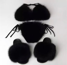 Fur Slides & Bikini Set