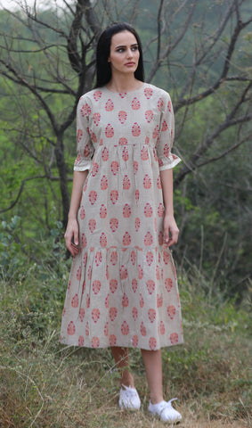 The Tulip Dress(Gingham block print)