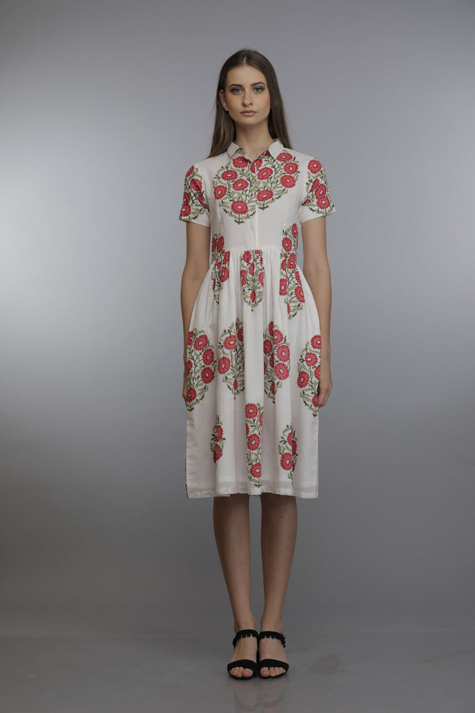 Meera collar dress Red Blossom