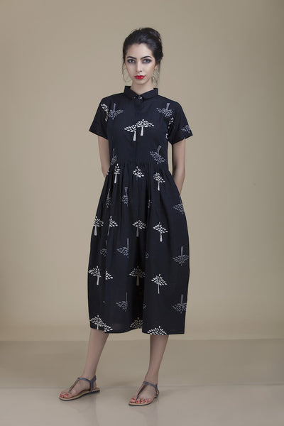 Meera Collar Black with Tree Print