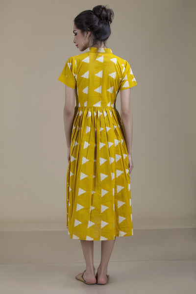 Meera Collar Mustard Yellow with White Triangles