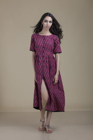 Zoya Button Down Magenta Ikat