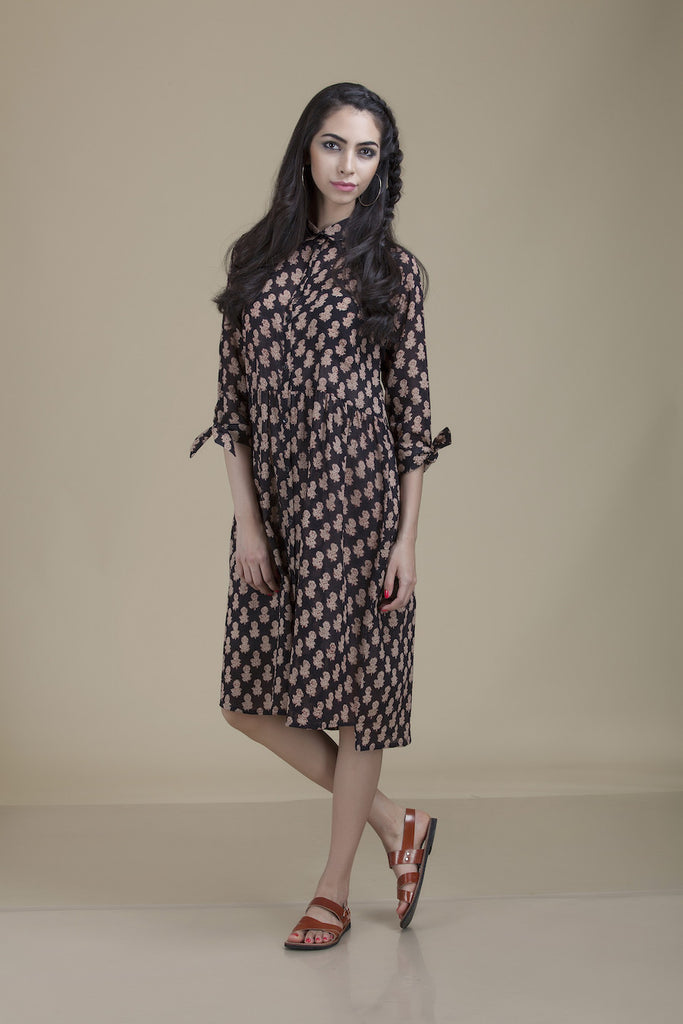 Kiran Shirtdress Brown Floral with Tie Sleeves