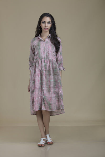 Kiran Shirt Dress Pink Flowers with Green Stems