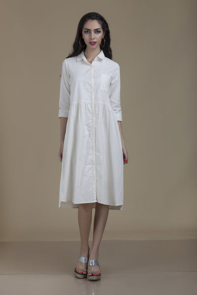 Kiran Shirt Dress in White