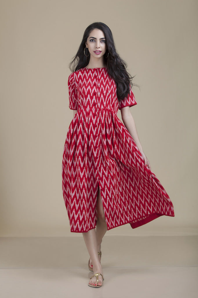 Zoya Button Down Red Ikat