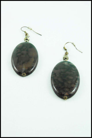 Marbled Bead Oval Drop Earrings