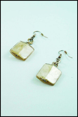 Square Bead Drop Earrings in Gold Color