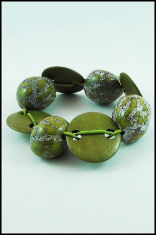 Green Faux Stone Bead Stretch Bracelet