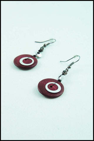 Red Wood Bead Drop Earrings