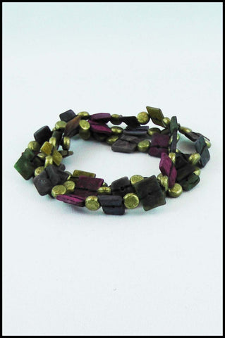 Multi-colour Square Bead Stretch Bracelet