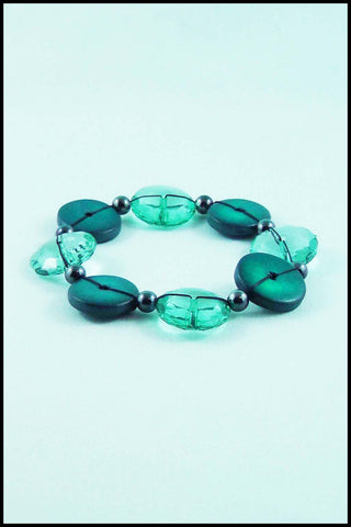 String Button Bead Stretch Bracelet in Turquoise