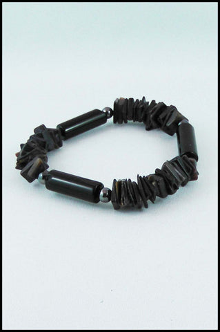 Stacked Bead Bracelet in Brown