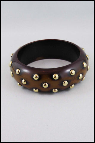 Bangle with Gold Colour Metal Studs
