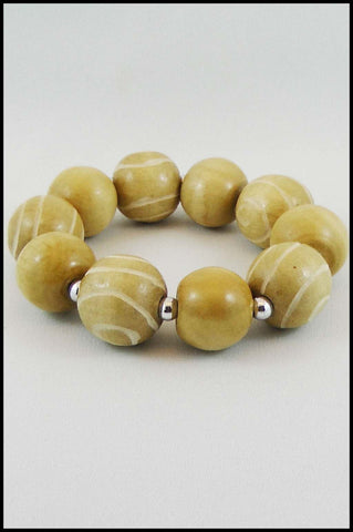 Wood Swirled Bead Stretch Bracelet