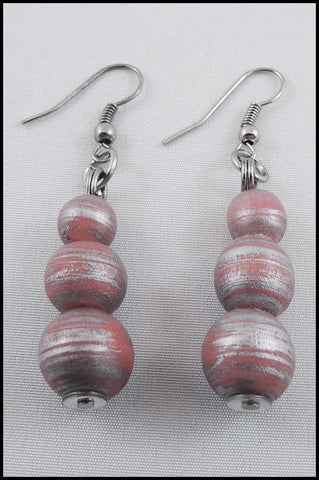 Wood Bead Drop Earrings
