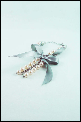 Imitation Pearl and Ribbon Bow Bracelet