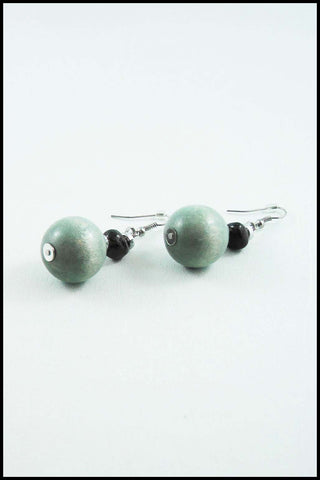 Grey Wood Bead Drop Earrings