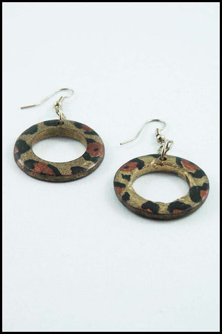 Animal Print Drop Hoop Earrings