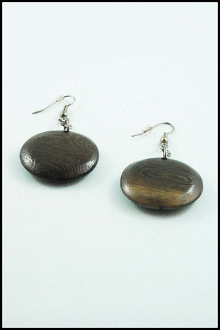 Large Wood Brown Button Drop Earrings