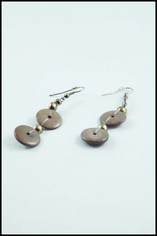 Wood Button Drop Earrings