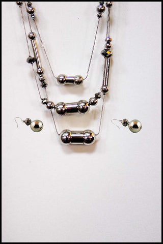 Beads and Tubes Necklace and Earring Set