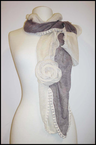 Two-tone Soft Scarf with Floral Rosette and Lace Detailing