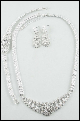 Evening Rhinestone Necklace, Bracelet, and Earring Set