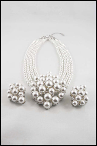 Bold Imitation Pearl 4-Strand Choker and Earring Set