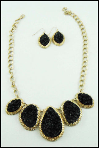 Jagged Stone Necklace and Earring Set