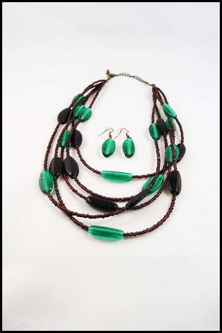 Layered Flat Bead Necklace and Earring Set