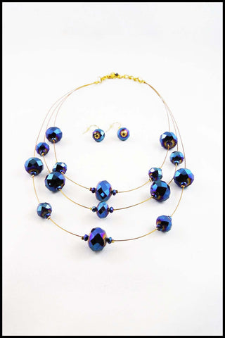 Floating Iridescent Bead Necklace and Earring Set