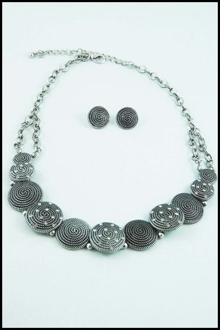 Coin Medallion Necklace and Earring Set