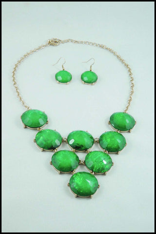 Iridescent Green Faux Stone Necklace and Earring Set