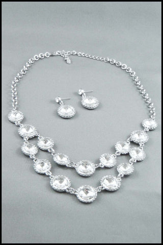 Faux Clear Crystals Necklace and Earring Set
