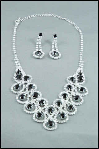 Black Rhinestone Evening Wear Jewellery Set