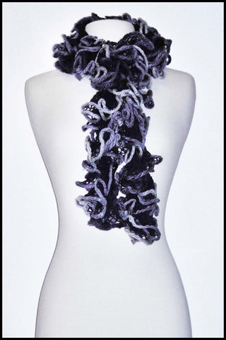 Loosely Crocheted Ruffle Scarf in Variegated Colour
