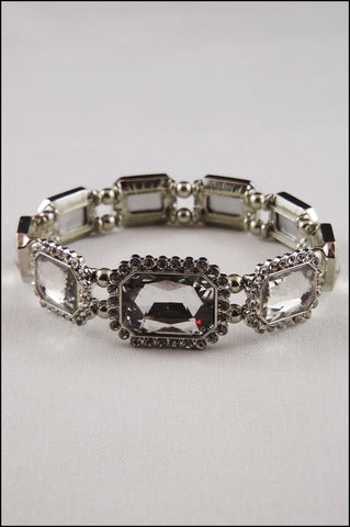 Emerald Cut Pave Crystal Stretch Bracelet